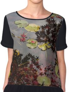 Fall Pond Reflections - a Story of Waterlilies and Japanese Maple Trees - Take Two Chiffon Top
