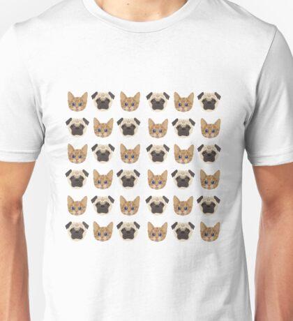 Pugs and Kittens White Unisex T-Shirt