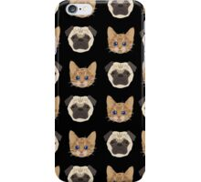 Pugs and Kittens Black iPhone Case/Skin