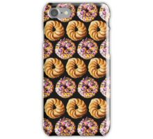 Sprinkle donuts and honey crullers on a black background iPhone Case/Skin