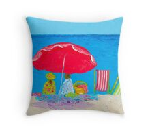 Beach painting - Sunny Afternoon at the Beach Throw Pillow