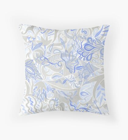 Dance in Grey and Blue Throw Pillow