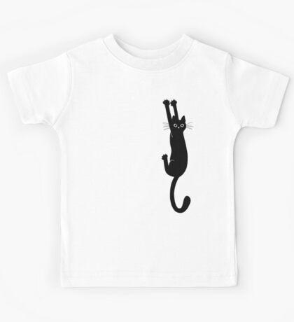 Black Cat Holding On Kids Tee