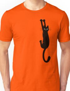 Black Cat Holding On Unisex T-Shirt