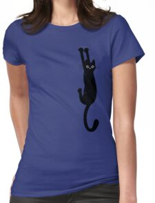 Black Cat Holding On Womens Fitted T-Shirt