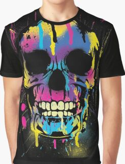 Cool Skull with Colorful Paint Drips and Splatters  Graphic T-Shirt