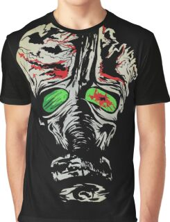 Dead Zombie with Gas Mask and Blood Graphic T-Shirt