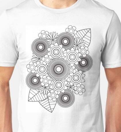 Coloring In Flowers & Leaves Bouquet Unisex T-Shirt