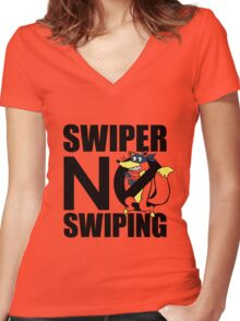 Swiper No Swiping Multi-Color Women's Fitted V-Neck T-Shirt