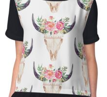Watercolor bull skull flowers Chiffon Top