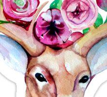 Watercolor deer stag flower crown garland Sticker