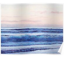 Ocean painting in soft pinks and blues Poster