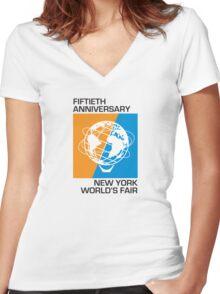 New York World's Fair - Fiftieth Anniversary Women's Fitted V-Neck T-Shirt
