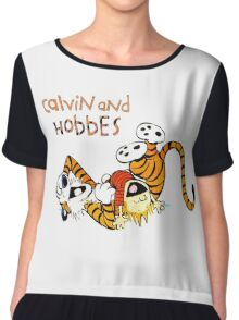 Calvin and hobbes laugh moment Chiffon Top