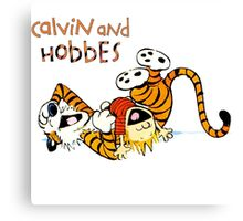 Calvin and hobbes laugh moment Canvas Print