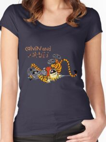 Calvin and hobbes laugh moment Women's Fitted Scoop T-Shirt
