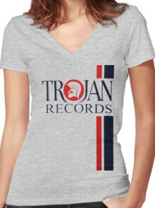 Trojan Records  Women's Fitted V-Neck T-Shirt