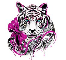 White Lion Pink Blood Photographic Print