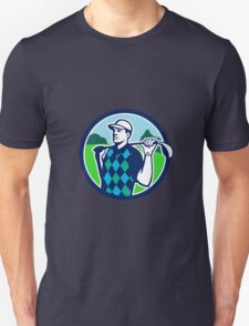 Golfer Golf Club Shoulders Circle Retro T-Shirt