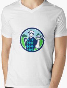 Golfer Golf Club Shoulders Circle Retro Mens V-Neck T-Shirt