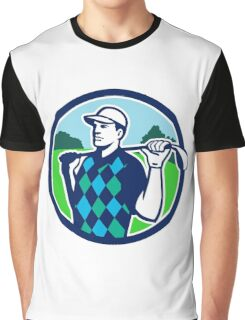 Golfer Golf Club Shoulders Circle Retro Graphic T-Shirt