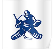 Ice Hockey Goalie Retro Poster