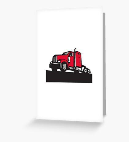 Semi Truck Tractor Low Angle Retro Greeting Card