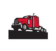 Semi Truck Tractor Low Angle Retro Photographic Print