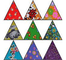 Vintage Fabric Patchwork in Bright Colours Photographic Print