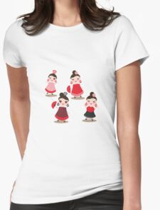 Flamenco dancers on black Womens Fitted T-Shirt
