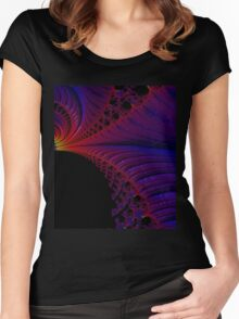 ABSTRACT BLUE & RED FRACTAL Women's Fitted Scoop T-Shirt