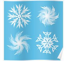 set of snowflakes white outline illustrations  Poster