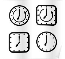 set of icons square and round clock  Poster