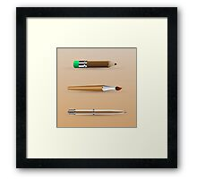 painting tools, set of pen, brush, pencil Framed Print