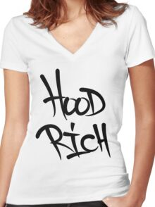 Hood Rich Typography Women's Fitted V-Neck T-Shirt