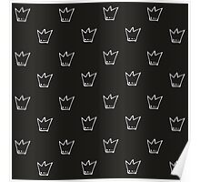 Monochrome pattern with white crowns Poster