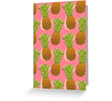 Pineapple Pop Art Pattern on Pink Greeting Card