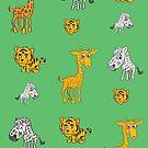 Cute Jungle Animals Pattern  by Silvia Neto