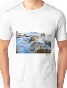 Rocks in a blue ocean waves.  Unisex T-Shirt