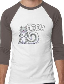 Snow leopard meow Men's Baseball ¾ T-Shirt