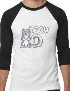 Snow leopard meow Men's Baseball ¾ T-Shirt
