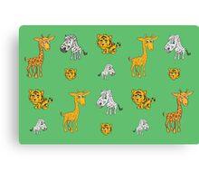 Cute Jungle Animals Pattern  Canvas Print
