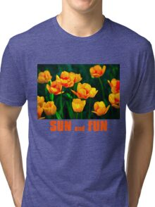 Yellow Tulips - Sun And Fun Tri-blend T-Shirt