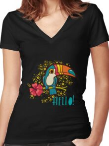 Bird Toucan tropical hibiscus flower in cartoon style.  Women's Fitted V-Neck T-Shirt