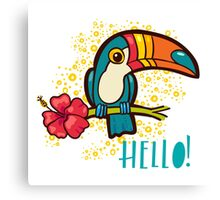 Bird Toucan tropical hibiscus flower in cartoon style.  Canvas Print