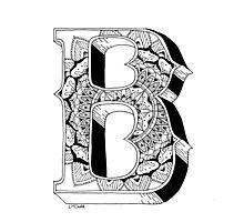 B - Mandala N°1 inside Alphabet N°1 Photographic Print