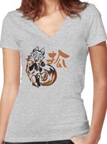 Fox tribal tattoo Women's Fitted V-Neck T-Shirt