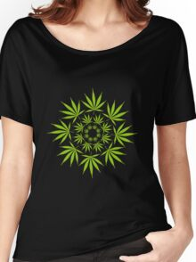 Cannabis Leaf Circle Women's Relaxed Fit T-Shirt