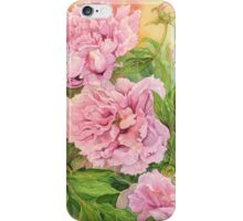 Pink peony green iPhone Case/Skin