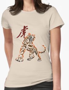 Tiger tribal tattoo Womens Fitted T-Shirt